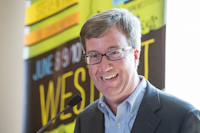 The mayor of Ottawa, Jim Watson speaks to the media as part of the launch of the 9th edition of Westfest to be held in the Westboro Village community on Jun 8th to 10th, 2012