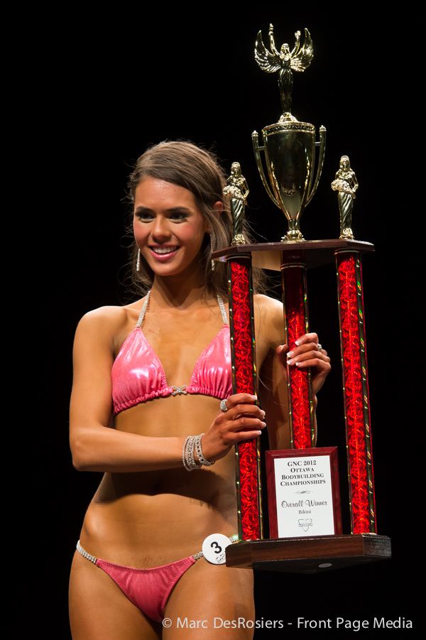 "November 3rd, 2012. Jordan Ealdama wins the Bikini category at the OPA's annual fitness and bodybuilding competion held at the CEGEP de l""Outaouais in Gatineau, Quebec."