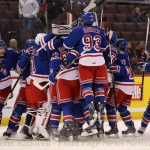 The Kitchener Rangers celebrate their win over the Ottawa 67's at the Canadian Tire Centre in Ottawa on Sunday, November 10th, 2013. The Rangers won 4-3 in a shoot-out. Mandatory Credit: John Rathwell/ Front Page News Network