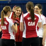The members of Team Canada congratulate one another after a successful end